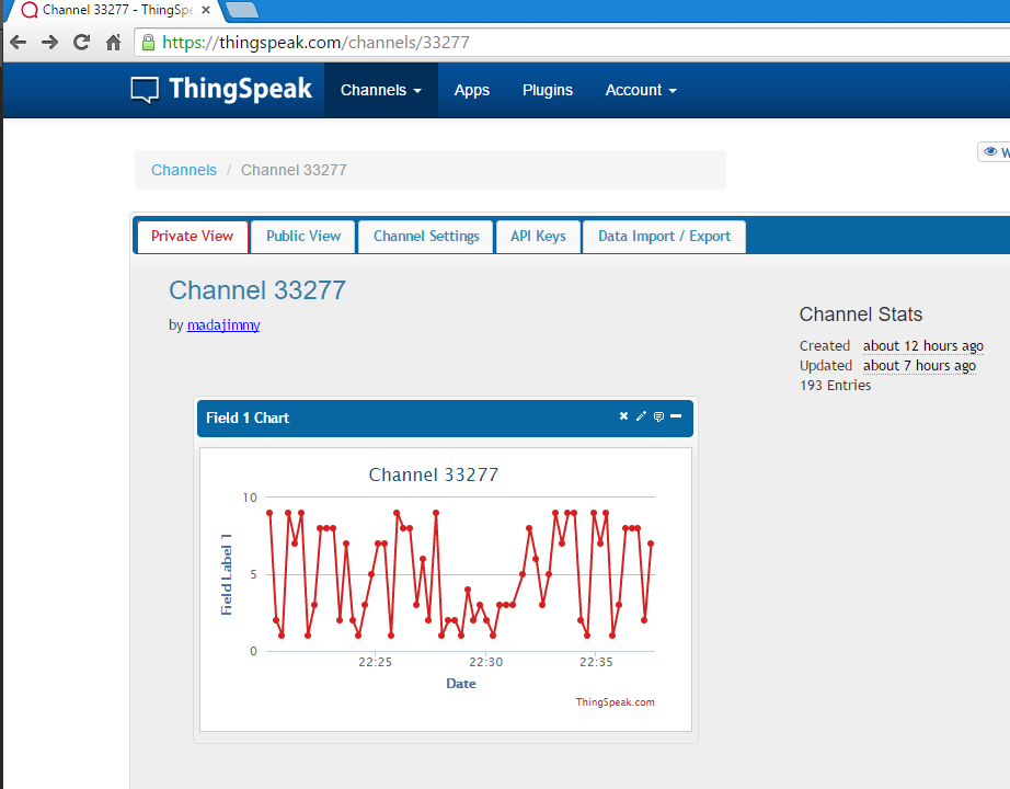 ThingSpeak data logger